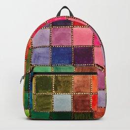 Rainbow Tiles Golden Mosaic Watercolor Palette Backpack