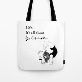 funny yoga print, original yoga art, unique yoga gift, black and white, modern, yoga wine, yogi Tote Bag