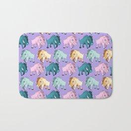 Cute Purple Kawaii Wild Boar Watercolor Pattern Print Bath Mat