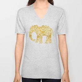 Floral Elephant in Gold Unisex V-Neck