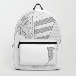sneaker illustration, shoe drawing, 80s , black and white Backpack