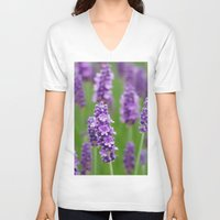 lavender V-neck T-shirts featuring lavender by GISMANA