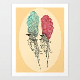 Bouffant Birds Art Print