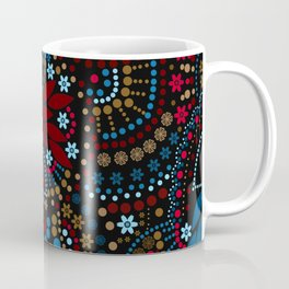 Scattering beads . Black background Country . Coffee Mug