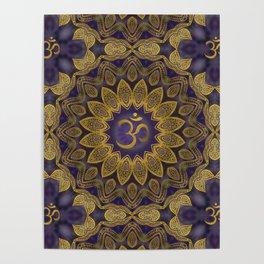 OM sign on Gold and Amethyst  Kaleidoscope Mandala Poster