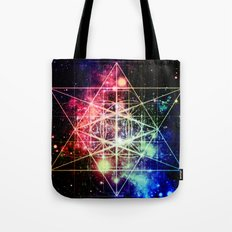Rainbow Flower of Life : Sacred Geometry Tote Bag