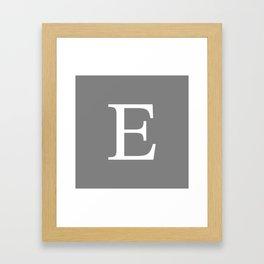 Darker Gray Basic Monogram E Framed Art Print