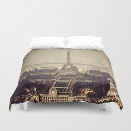 paris skyline aerial view with eiffel tower Duvet Cover