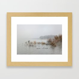 """Foggy sunrise at the lake"". Framed Art Print"