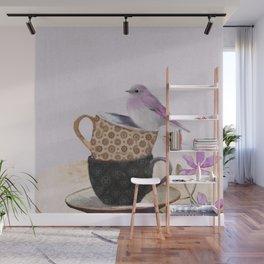 Bird in tea cup Wall Mural