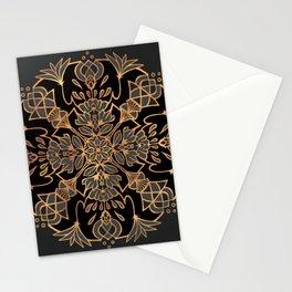 Lotus Mandala - Black and Gold Stationery Cards