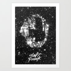 Daft Punk poster helmet Space stars, random access memories, disco, retro digital  print Art Print