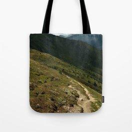 narrow hiking path alps serfaus fiss ladis tyrol austria europe Tote Bag