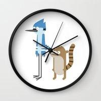 regular show Wall Clocks featuring Regular show by Oh Boy