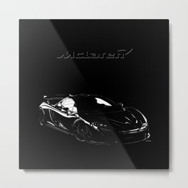 McLaren P1 High Contrast Metal Print