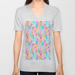 Abstract Brushstrokes - Brights Unisex V-Neck