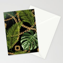 Tropical vintage Baroque pattern with golden chains, palm leaves, baroque elments on dark background. Classical luxury damask hand drawn illustration pattern. Stationery Cards