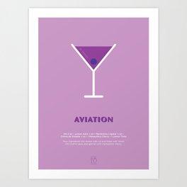 Aviation Cocktail Recipe Art Print Art Print