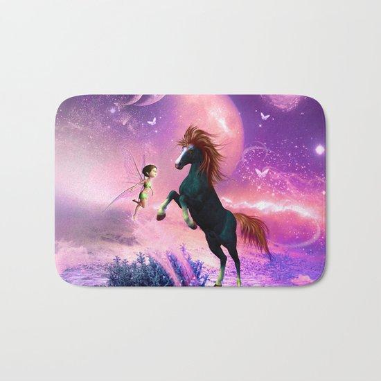 Horse with cute fairy  Bath Mat