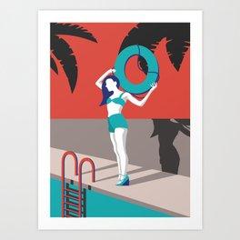 Lifeguard pinup girl, minimalist digital art, red blue and black Art Print