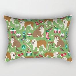 English Bulldog christmas pattern print pet friendly pet portrait dog art Rectangular Pillow