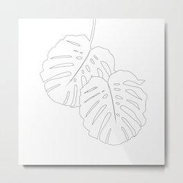 Monstera Leaves Finesse Line Art #1 #minimal #decor #art #society6 Metal Print