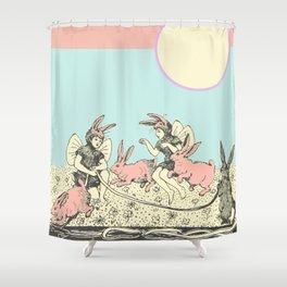Frolicking Bunnies Shower Curtain