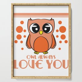 Do you love owls? A cute I just freaking love owls t-shirt design just for you! Cute Brown Owl Serving Tray