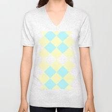 Checkers Yellow/Blue Unisex V-Neck