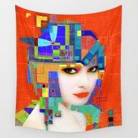 nouveau Wall Tapestries featuring Nouveau Girl 2 by Steve W Schwartz Art