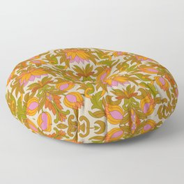 Orange, Pink Flowers and Green Leaves 1960s Retro Vintage Pattern Floor Pillow