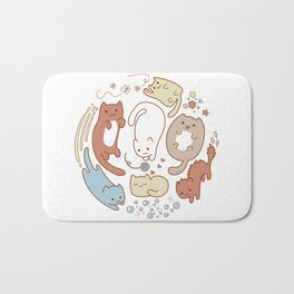 Seven cute cats. Bath Mat