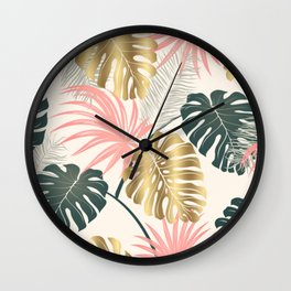 Tropical Print with Gold Wall Clock