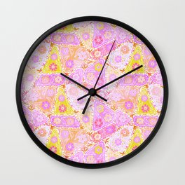 Pastel Patchwork Flower Garden, Soft Lavender, Lilac Purple and Pink Floral Quilt Repeat Pattern Wall Clock