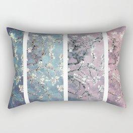 Vincent Van Gogh : Almond Blossoms Panel arT Pastel Pink Blue Teal Rectangular Pillow