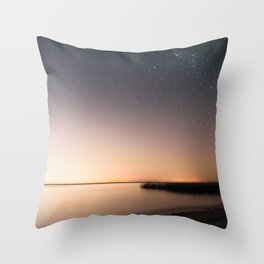 Beautiful starry scene at the coast of 'Colonia, Uruguay'. Long exposure with light pollution. Throw Pillow