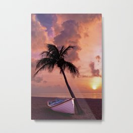 Tropical beach resort at beautiful sunset time Metal Print