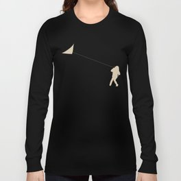 Little Girl with a Kite in Winter Grass Long Sleeve T-shirt