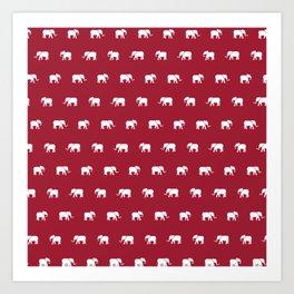 Crimson Elephants Art Print