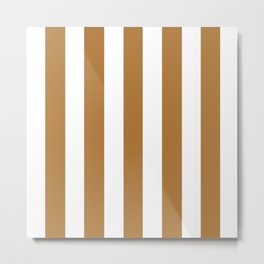 Durian brown -  solid color - white vertical lines pattern Metal Print