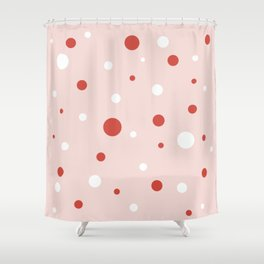 Ice Cream Dots Minimalist Pattern in Blush Pink, Red, and White Shower Curtain