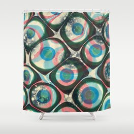 Transparent dots, cyan & pink, marble Shower Curtain