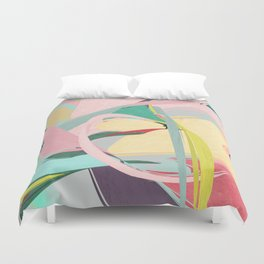 Shapes and Layers no.23 - Abstract Draper pink, green, blue, yellow Duvet Cover
