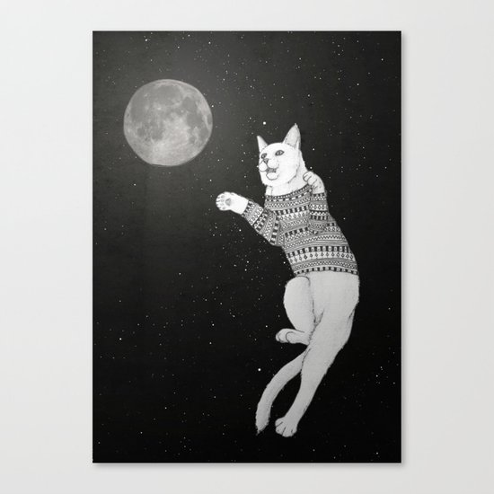Cat trying to catch the Moon Canvas Print