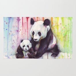 Pandas and Rainbow Watercolor Mom and Baby Panda Nursery Animals Rug