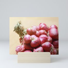 Bundle Shallot on Wooden Board Mini Art Print