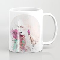 fashion illustration Mugs featuring FASHION ILLUSTRATION 3 by Justyna Kucharska