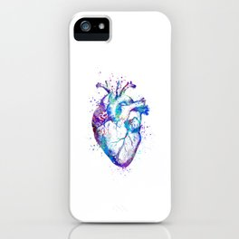 Heart Anatomy Art Gift Colorful Blue Purple Watercolor Art Anatomy Art Anatomical Heart Doctor Gift iPhone Case