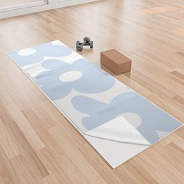 Large Baby Blue Retro Flowers White Background #decor #society6 #buyart Yoga Towel