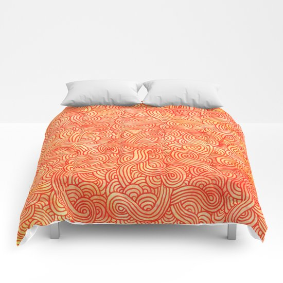 Red and orange swirls doodles Comforters